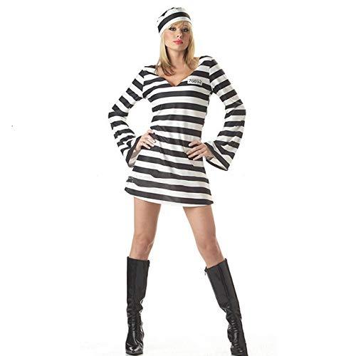 Disfraces de Halloween Mujeres Amantes de Zombies Ropa de los Hombres Los presos Camuflaje Carnaval de la Mascarada de la Raya del Traje de Miedo (Color : Man Set, Size : Adult L)