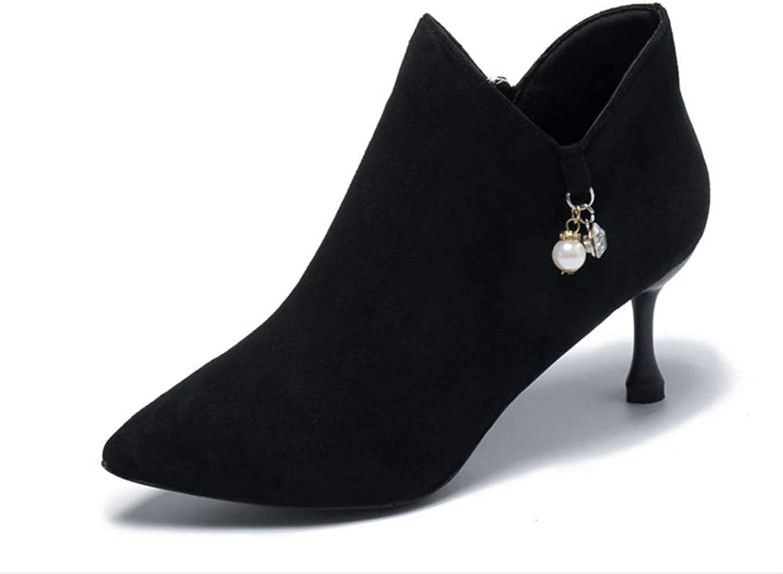 Cdon Women's Dressy Strap Pointed Toe Side Zipper Short Boots Stiletto Ankle Booties