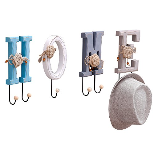 MyGift 7-inch Wall-Mounted Wood Home Coat/Hat Rack, Hanging Letters with Ball Capped Hooks
