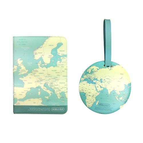 Travel World Map Passport Cover + Luggage Nametag, Combo Travel Set (Mint)