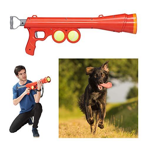 Relaxdays, Czerwona tunika do piłek, z 2 piłkami tenisowymi, pistolet do piłki o zasięgu 10 – 15 m, wszystkie rasy psów, wyrzutnia piłek, 1 sztuka