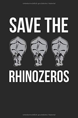 Notizbuch Save The Rhinozeros: Weißes Papier I 120 Seiten I Gepunktet I Kladde I Notizheft I Skizzenbuch I