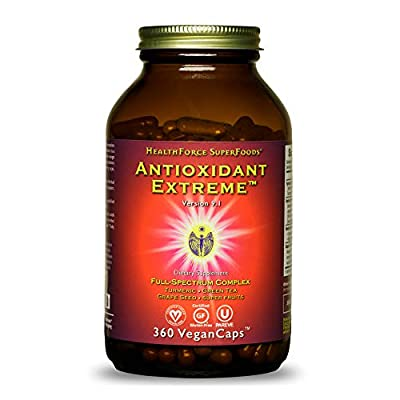 HealthForce SuperFoods Antioxidant Extreme - 360 Vegan Capsules - All Natural Turmeric Root Complex, Anti Inflammatory - Kosher, Gluten Free - 180 Servings