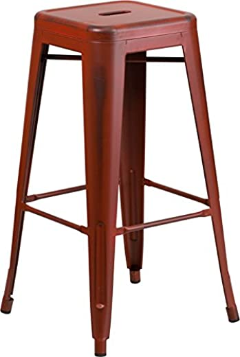 B07NQNWPZH✅Emma + Oliver 30″ H Backless Distressed Red Metal Indoor-Outdoor Barstool