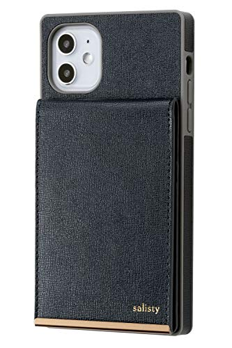 salisty iPhone 11 ケース 背面ポケット カード収納 キャッシュレスケース [ネイビー]