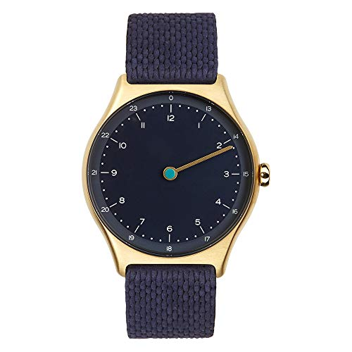 slim made one 1-03 - schlanke Einzeiger-Armbanduhr mit analoger 24 Stundenanzeige Leder Gold/blau
