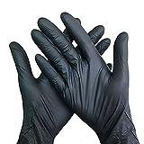 Guantes desechables de nitrilo, sin polvo, guantes de calidad alimentaria, sin látex, tamaño S/M, 20/50 unidades Negro S 20 unidades.