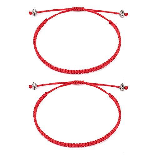 Seyaa Red String of Fate Bracelets Kabbalah Protection Good Luck Simple Matching Bracelets for Lover Women Men