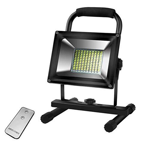 Inicio Equipos Luz de trabajo LED recargable de 2400 lúmenes Luz de trabajo portátil de 24 W con panel solar y control remoto 2 modos Banco de energía de 12000 mAh IPX4 Foco de exterior impermeable