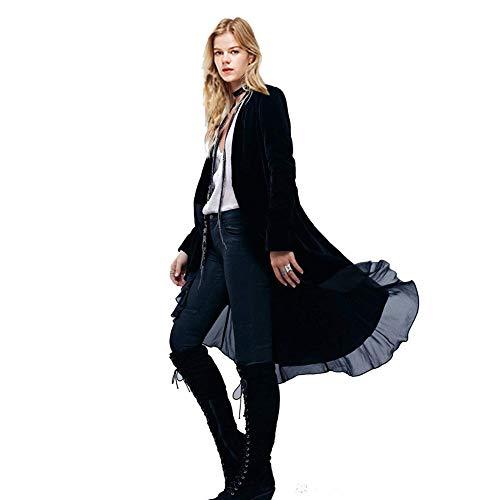 Women Ruffled Asymmetric Long Velvet Blazers Coat Casual Jackets (2XL, Black)
