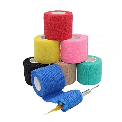Asien Einweg-Tattoo Grip-Abdeckung Wrap Cohesive Tattoo Grip Tape Selbstklebendes Elastic Bandage Rolls Handgriff-Griff-Schlauch Zufällige Farbe 1pc
