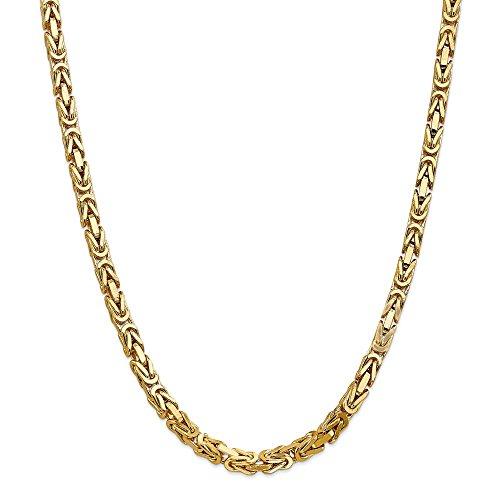 Collar de cadena bizantina de oro amarillo macizo de 14 quilates, 5,25 mm, 60,96 cm para hombres y mujeres