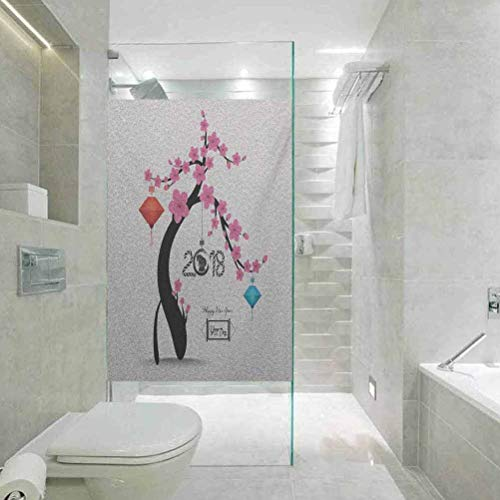 DIY Home Decoration Glass Stickers Window Film Year of the Dog Flourishing Cherry Blossom Tree with Oriental Ele, Bathroom Office Meeting Room Living Room Window Membrane, 59,9 x 199,9 cm