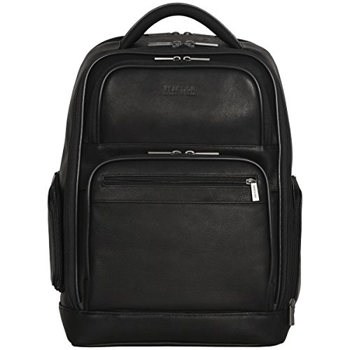 """Kenneth Cole Reaction Colombian Leather Dual Compartment 15.6"""" Laptop Anti-Theft RFID Business Backpack, Black"""