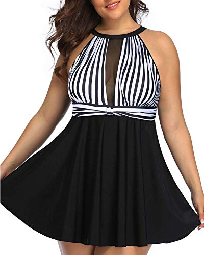 Temptme Women Plus Size High V Neck Swim Dress One Piece Tummy Control Swimsuit Mesh Skirted Deep Plunge Bathing Suits