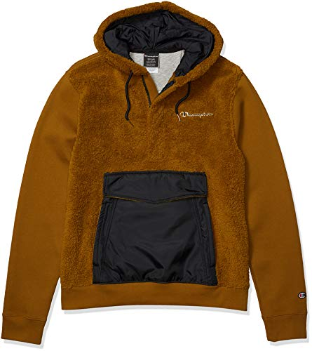 Champion LIFE Men's Faux Fur Pullover Hood with Super Fleece, Imperial Gold/Black, X Large