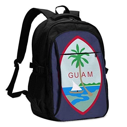 XCNGG US Flag Guam Unisex Travel Laptop Backpack with USB Charging Port School Anti-Theft Bag