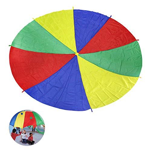 Ballery Paracaídas, 6FT Paracaídas de Color Arcoiris Juego con 8 Asas Popular Entretenimiento para Niños Actividades Deportivas Fiestas Ejercicios en Grupo Al Aire Libre (2m)