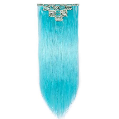 26 Pouces Extension A Clip Rajout Cheveux Synthétique 8 Pièces Extension A Clip Cheveux Pas Cher Lisse Raide Clip In Hair Extension Full Head - Bleu Ciel