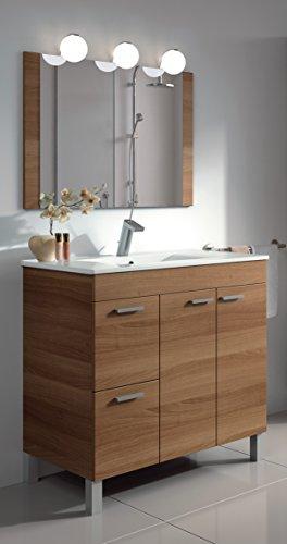 Homevanity Aktiva - Mobile da bagno, 2 ante, 2 cassetti, con specchio e lavandino, colore: 800 noce