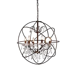 Whse of Tiffany RL8049 Edwards Antique Bronze and Crystal Chandelier