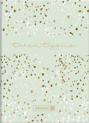 BRUNNEN 1073115031 Taschenkalender Modell 731 15, 2 Seiten = 1 Woche, 10 x 14 cm, Grafik-Einband Flowers, Kalendarium 2021