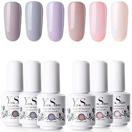 YaoShun Gel Nail Polish Kit - Mist Grey and Nude Series 6 Colors Gel Polish Kit UV Nail Gel Gift Box, Soak Off Nail Gel Manicure at Home Kit Gel Nail Art Kit