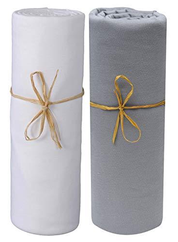 P tit Basile - Set di 2 lenzuola con angoli in cotone jersey bio, colore: bianco grigio scuro, da 40 x 80 cm a 50 x 90 cm, culla cododo, cosleeping, culla, NEXT2 ME DREAM, KINDERKRAFT, SAFETY 1st...
