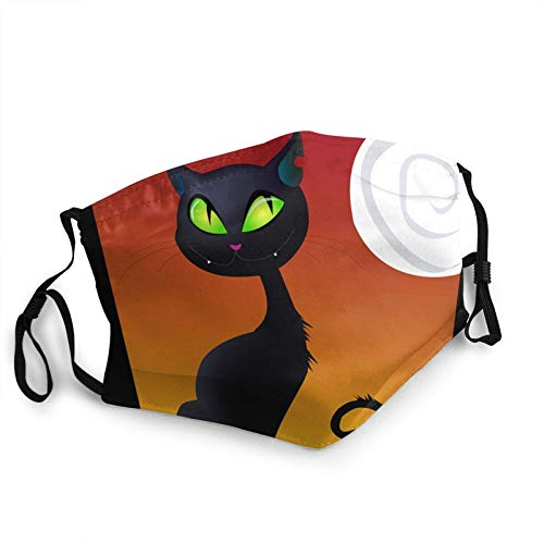 Juanjuan Black Cat Adult Mouth Covers,Adjustable Anti Dust Half Face Mouth Cover For Women Men Outdoor/Sports/Motor/Cycling (7.9 X 5.9 Inch)