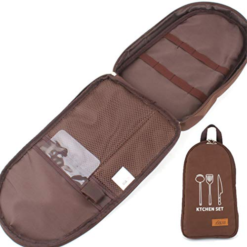 Yongyong Outdoor-Aufbewahrungstasche Schneidebrett Tasche Tragbare Kochgeschirr Tasche Sinnlich Nationalen Wind Camping Handtasche Dampfer Gabel Aufbewahrungstasche (Color : Brown)