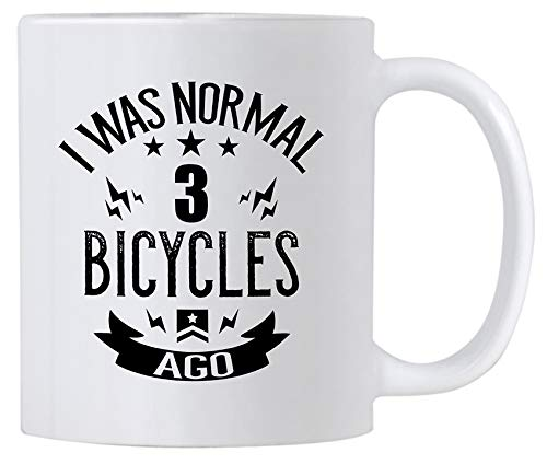 Casitika Funny Cycling Mugs. 11 oz Ceramic Bicycle Lovers Novelty Coffee Mug. Bike Mugs For Triathlon Enthusiast. I Was Normal 3 BiCycles Ago.