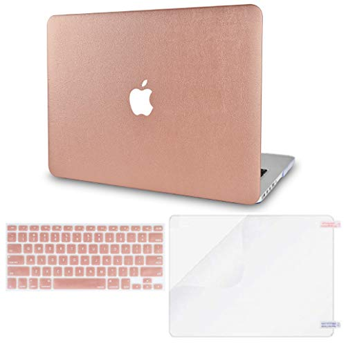 LuvCase 3 in 1 Laptop Case for MacBook Air 13 Inch (2020)(Touch ID) A2179 Retina Display Leather Hard Shell Cover, Keyboard Cover & Screen Protector (Rose Gold Leather)