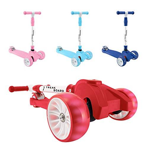 streakboard Kinderroller Mini-Scooter,Dreirad mit Verstellbarem Lenker Kinderroller mit PU LED Blinken für Kinder 3-10 Jahren, bis 50kg Belastbar (Rot)