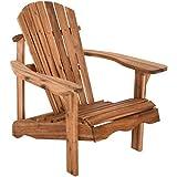 Raburg Gartensessel SUNJA Premium in Natur - Akazie Hartholz, geölter XXL Design-Gartenstuhl Canadian Adirondack Deck-Chair/Hamburger Alsterstuhl, belastbar bis 150 kg