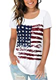Sousuoty Womens American Flag Short Sleeve Tops Scoop Neck Tee Shirts XXL