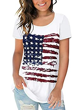 Sousuoty Women s American Flag Clothing Scoop Neck Comfy T Shirt Rayon Tops XL