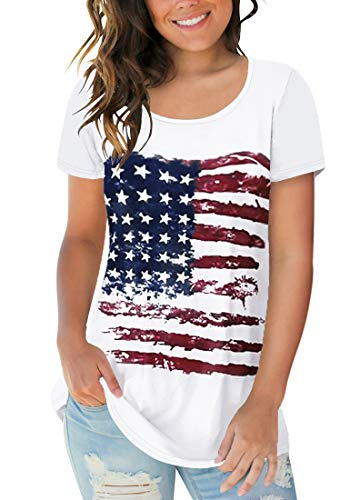 Sousuoty Women's Patriotic Flag T Shirts Summer Short Sleeve Round Neck Tops M