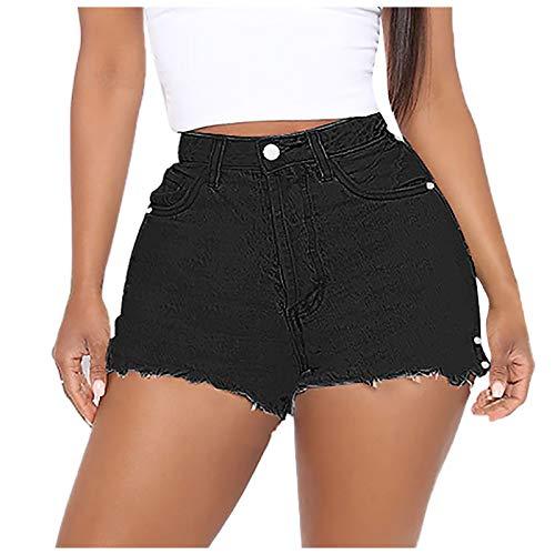 Soolike Shorts De Mezclilla,Pantalones Cortos Mujer Verano,Damas De Cintura Alta Shorts De Mezclilla De Corte Slim,Pantalón Casual con Bolsillos