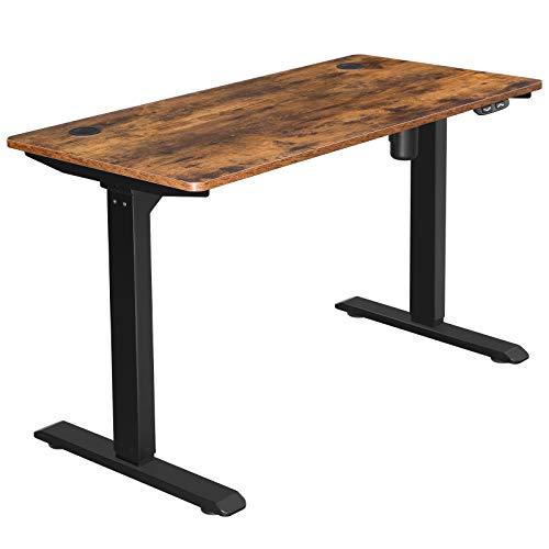 SONGMICS Elektrischer Schreibtisch, höhenverstellbar, Schreibtischständer, Tischgestell mit Motor, 120 x 60 x (73-114) cm, Stahl, vintagebraun-schwarz LSD011B01