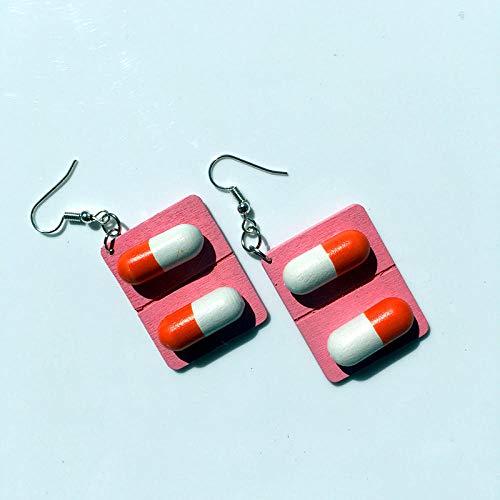 XCWXM Pendientes de Madera para Mujer Cápsulas Divertidas con píldoras Pendientes de Moda para Adolescentes Joyas de Moda geométricas geniales-1