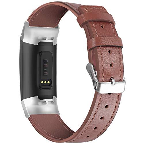 Wekinin, cinturino in vera pelle compatibile con Fitbit Charge 3/4, cinturino di ricambio classico regolabile per sport fitness per uomini e donne, Marrone