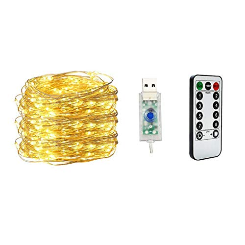 DBSUFV 5m 50LED Remote Control USB Copper Wire String Light Low Voltage Waterproof Christmas Day Light String