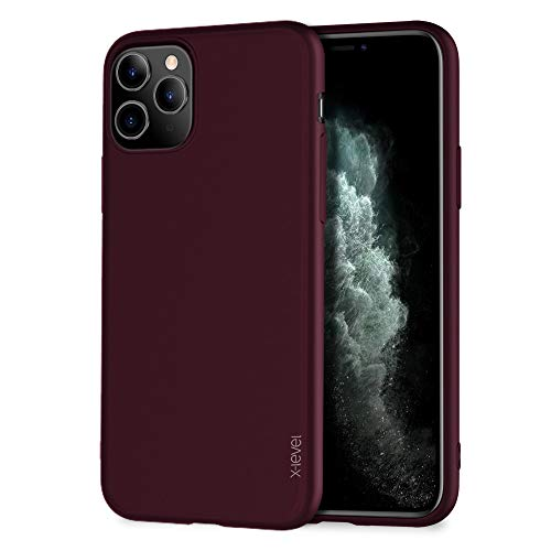"X-level iPhone 11 Pro Max Case,Slim Fit Soft TPU Matte Surface Ultra Thin Phone Case Lightweight Full Protective Back Cover Case for Women Compatible Apple iPhone 11 Pro Max 6.5"" (2019)-WineRed"