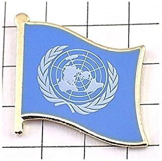 ピンバッジ 国連 UN 国際連合 ブルー水色の旗 デラックス薄型キャッチ付き ピンズ UNITED NATIONS UN FLAG ピンバッチ 地球 月桂樹