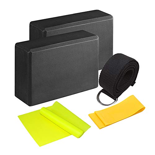 SONSYON Unisex Yoga Set Kit - Yoga Blocks Strap Belts Resistance Exercise Band Ideal for...