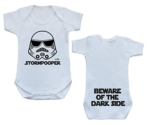 Colour Fashion Storm Pooper Dark Side Star and Wars Funny Bodysuit Onesie 0-24 (12-18 Months, White)