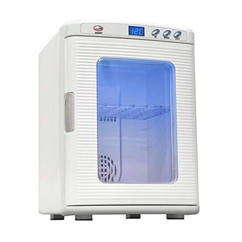 Mini Nevera 25L Mini-Frigorífico Portátil, 12 V/220 V para Coche y Casa, 2 en 1 Termoeléctrica Nevera con función de Frío y Calor, Manija Automática, Incluye Estantes Extraíbles(Modo Eco)