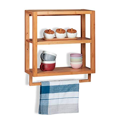 Relaxdays Estantería de bambú, Tres estantes, Toallero, Balda extraíble, De Pared, Marrón, 58,5x52x21 cm