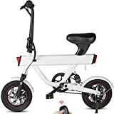 DYU V1 Bicicleta Eléctrica Plegable, 12' Bici Electricas con Pedales,Urbana E-Bike 240W Motor,Batería 36V 10Ah, Velocidad máxima de 25 km/h, 3 Modos de Trabajo 50m Remoto Comienzo Alarma Inteligente