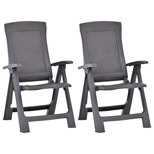 SKM Garden Reclining Chairs 2 pcs Plastic Mocca - 8762